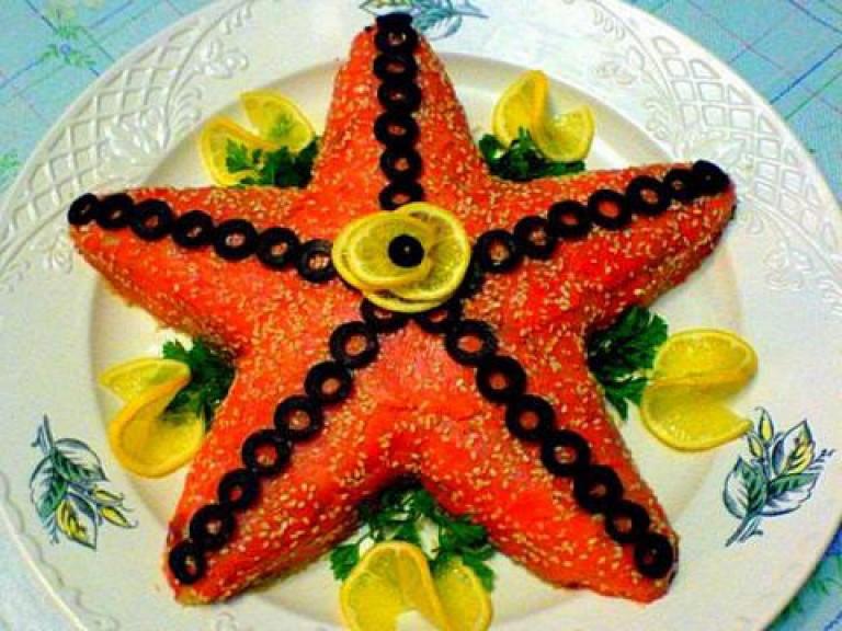 салат морская звезда с кальмарами рецепт с фото 0
